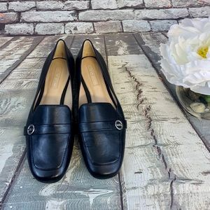 "Antonio Melani Black Leather ""Madeli"" Flats"
